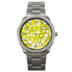Yellow decorative abstraction Sport Metal Watch