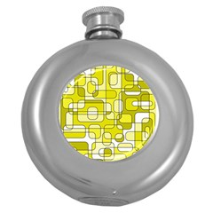 Yellow Decorative Abstraction Round Hip Flask (5 Oz)