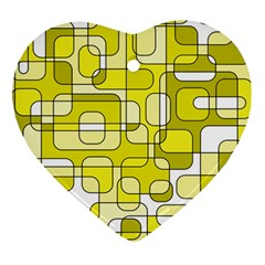 Yellow decorative abstraction Heart Ornament (2 Sides)