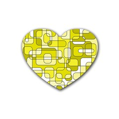 Yellow decorative abstraction Heart Coaster (4 pack)