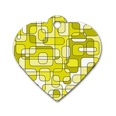 Yellow decorative abstraction Dog Tag Heart (One Side)