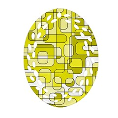 Yellow decorative abstraction Oval Filigree Ornament (2-Side)