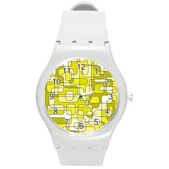 Yellow decorative abstraction Round Plastic Sport Watch (M)