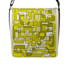 Yellow decorative abstraction Flap Messenger Bag (L)