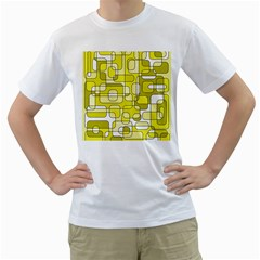Yellow decorative abstraction Men s T-Shirt (White)