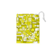 Yellow decorative abstraction Drawstring Pouches (XS)