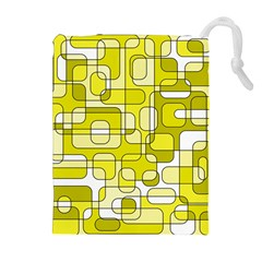 Yellow Decorative Abstraction Drawstring Pouches (extra Large)