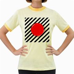 Red ball Women s Fitted Ringer T-Shirts