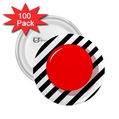 Red ball 2.25  Buttons (100 pack)