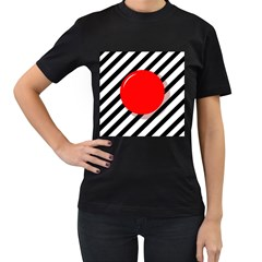 Red ball Women s T-Shirt (Black) (Two Sided)