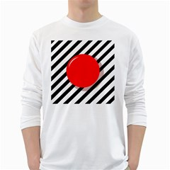 Red ball White Long Sleeve T-Shirts