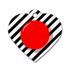 Red ball Dog Tag Heart (One Side)