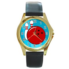 Bowling  Round Gold Metal Watch