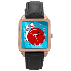 Bowling  Rose Gold Leather Watch