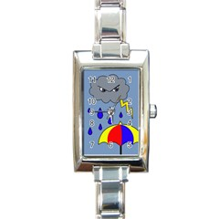 Rainy day Rectangle Italian Charm Watch