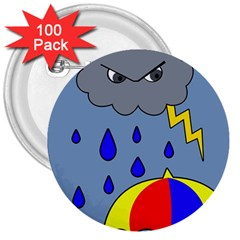 Rainy day 3  Buttons (100 pack)