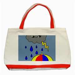 Rainy day Classic Tote Bag (Red)
