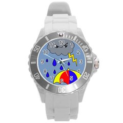Rainy day Round Plastic Sport Watch (L)