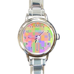 Pastel decorative design Round Italian Charm Watch