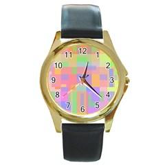 Pastel decorative design Round Gold Metal Watch