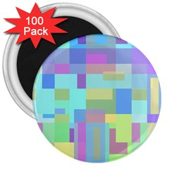 Pastel geometrical desing 3  Magnets (100 pack)