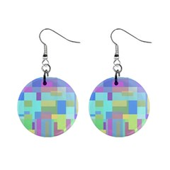 Pastel geometrical desing Mini Button Earrings