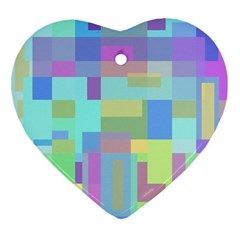 Pastel geometrical desing Heart Ornament (2 Sides)