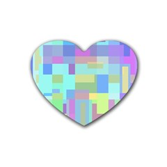 Pastel geometrical desing Rubber Coaster (Heart)