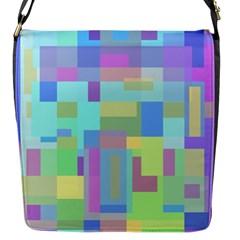 Pastel geometrical desing Flap Messenger Bag (S)