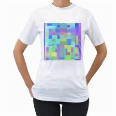 Pastel geometrical desing Women s T-Shirt (White)