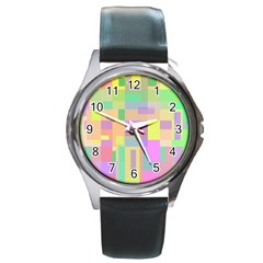 Pastel colorful design Round Metal Watch