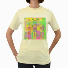 Pastel colorful design Women s Yellow T-Shirt