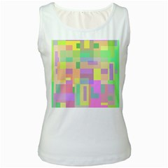 Pastel colorful design Women s White Tank Top