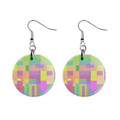 Pastel colorful design Mini Button Earrings