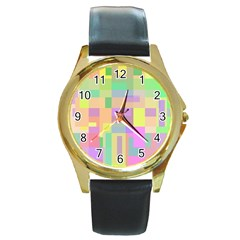 Pastel colorful design Round Gold Metal Watch