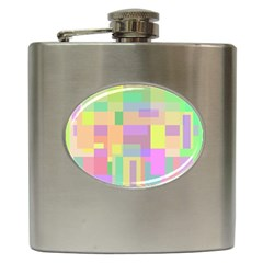 Pastel colorful design Hip Flask (6 oz)