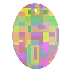 Pastel colorful design Oval Ornament (Two Sides)