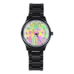 Pastel colorful design Stainless Steel Round Watch