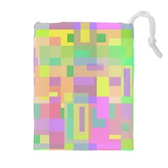 Pastel colorful design Drawstring Pouches (Extra Large)