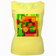 Colorful geometrical design Women s Yellow Tank Top