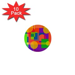 Colorful geometrical design 1  Mini Buttons (10 pack)