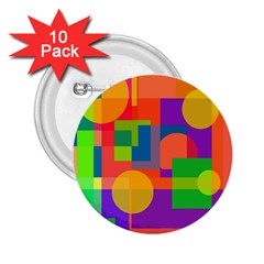 Colorful geometrical design 2.25  Buttons (10 pack)
