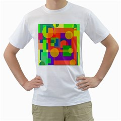 Colorful geometrical design Men s T-Shirt (White) (Two Sided)