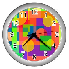Colorful geometrical design Wall Clocks (Silver)