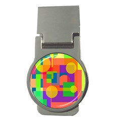Colorful geometrical design Money Clips (Round)