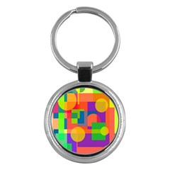 Colorful geometrical design Key Chains (Round)