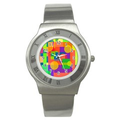 Colorful geometrical design Stainless Steel Watch