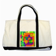 Colorful Geometrical Design Two Tone Tote Bag