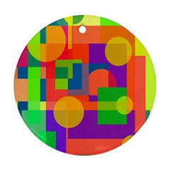 Colorful geometrical design Round Ornament (Two Sides)