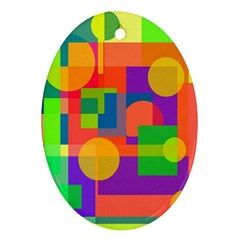 Colorful geometrical design Oval Ornament (Two Sides)
